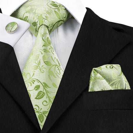 Mens Luxury Silk Tie Set - Green - Hot Or Not