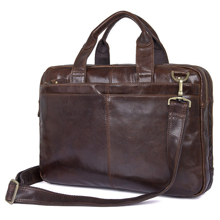 "Nesitu Vintage Style Leather Briefcase - Fits 15"" Laptop - Hot Or Not"