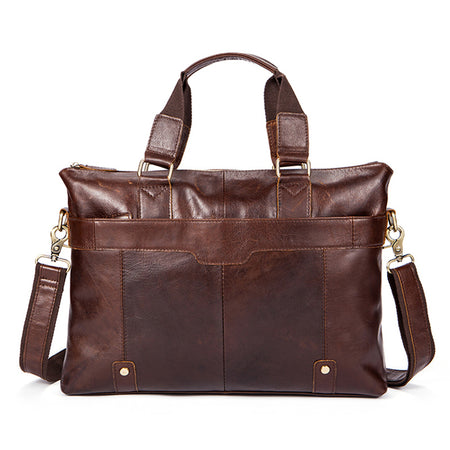 "Classical Messenger Bag Genuine Leather - Fits 14"" laptop - Hot Or Not"