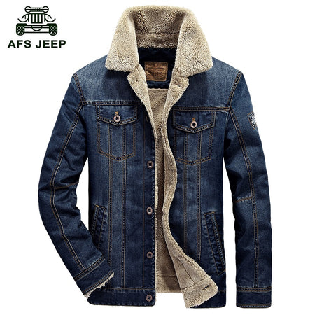 2017 New Winter Mens Fashion AFS JEP Men Denim Jacket Eur Style Casual Fur Thick Jeans Blazer Plus Velvet Outwear Coat Size 4XL - Hot Or Not