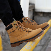 Leather Lace-Up Solid Men Boots - Hot Or Not