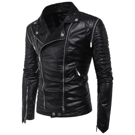 THE STAG - Mens Faux Leather Motorcycle Jacket