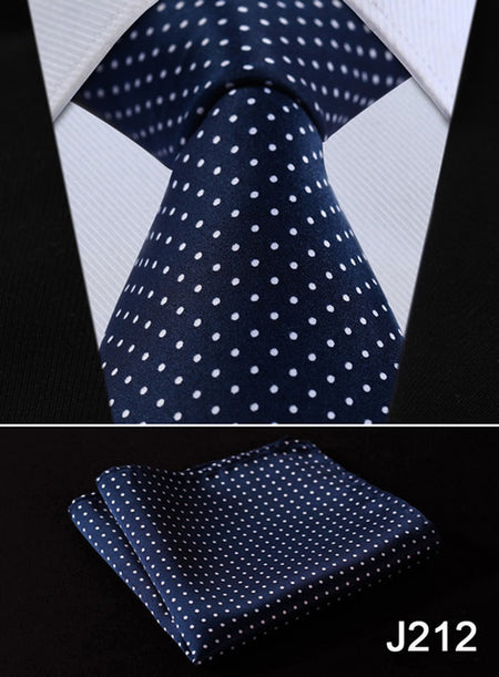 "Check Floral Striped Dot 3.4"" Silk Wedding Jacquard Woven Men Tie Necktie Pocket Square Handkerchief Set Suit J2-1 - Hot Or Not"