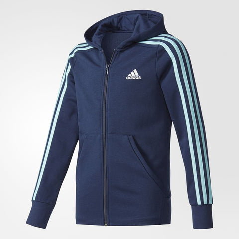 YOUTH ESSENTIALS 3-STRIPES HOODIE - COLLEGIATE NAVY