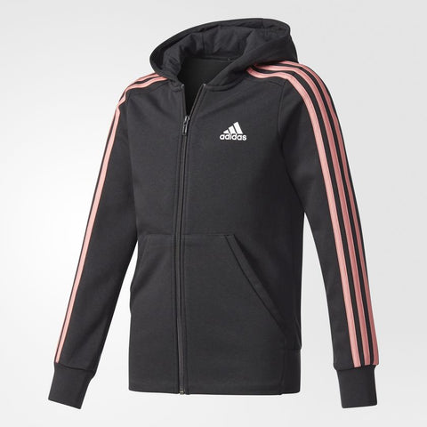 YOUTH ESSENTIALS 3-STRIPES HOODIE - BLACK