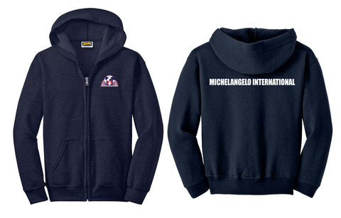 Michelangelo Intl. Full Zip Hooded Unisex Navy Sweatshirt