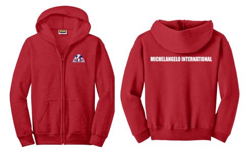 Michelangelo Intl. Full Zip Hooded Unisex Red Sweatshirt