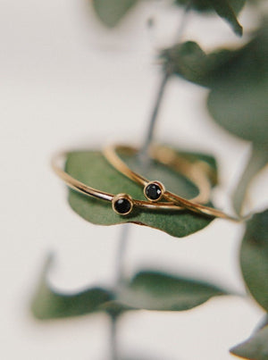 Black Bezel Stackable Ring