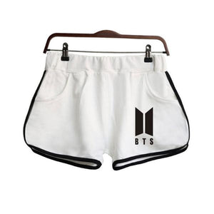 [50% OFF] Kpop BTS Logo Woman Gym Shorts - Neko Suki,