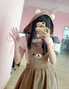 [25% OFF] Rilakkuma リラックマ Kawaii Hooded Bear Dungarees Jumpskirt - Neko Suki,
