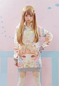 [30% OFF] Kawaii Harajuku Colourful Sweet Graphic Printed Oversize Hoodies - Neko Suki,