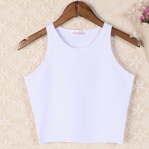 "[20% OFF] ""NANING9"" Sexy Korean 한글 Women Stretchable Slim Fit O-Neck Crop Top - Neko Suki,"