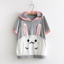 [30% OFF] Kawaii Harajuku Shiro Usagi Short Sleeve Hooded T-Shirt - Neko Suki,
