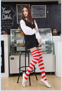 [FREE!] Cute Japanese Style Cotton Knee High Socks with Stripes [Cover Shipping Only] - Neko Suki,