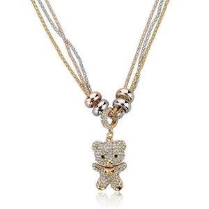 [50% OFF] 22K Gold Coated Teddy Bear Crystal Necklace with Sterling Silver Chain - Neko Suki,