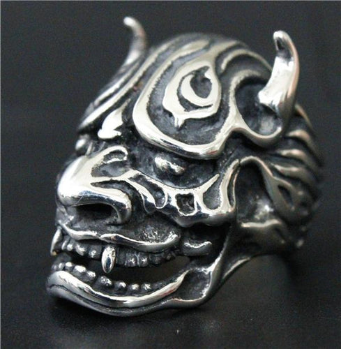 Senju シルバーアクセ Japanese Oni Stainless Steel Japanese Demon Ring - Neko Suki,