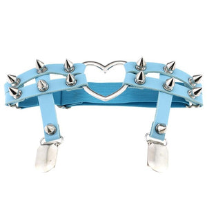 [30% OFF] Sexy Harajuku Gothic Heart Shaped Elastic Leather Thigh Harness Garter Stocking Clipper - Neko Suki,