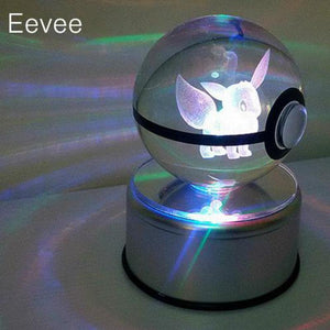 [Harajuku Toy Shop] New Rotating Pokemon Go LED Crystal Transparent Glass Ball Table Lamp - Neko Suki,