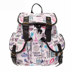 [30% OFF] Beautiful Graphic Printed Rucksack With Leather Strap Backpack - Neko Suki,