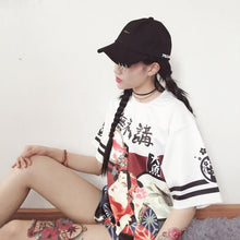[35% OFF] Japanese Streetwear Edo Period Art Printed Oversized T-Shirt Made with 100% Japanese Cotton - Neko Suki,