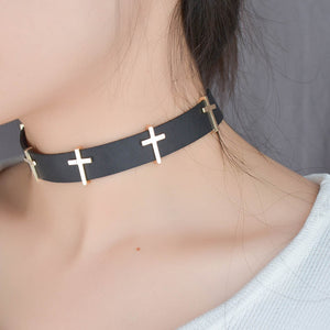 [FREE!!] Gothic Cross Black Leather Choker [Cover Shipping Only]. - Neko Suki,
