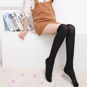 [35% OFF] Japanese School Girl Cotton Plain Knee High Socks - Neko Suki,