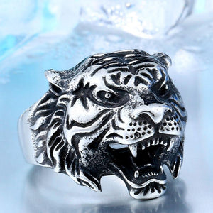 Senju シルバーアクセ Premium Grade Tiger Head Ring - Neko Suki,