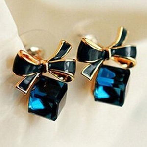 [FREE!!] Aquatic Deep Blue Sapphire Gift Box Earring [Cover Shipping Only]. - Neko Suki,