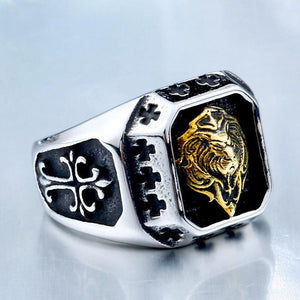 Senju シルバーアクセ Japanese Stainless Steel Gold Plated Lion Head Crusade Ring - Neko Suki,
