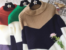 "[24% OFF] ""NANING9"" Triple Coloured Korean 한글 Loose Jumper Knitted Sweater - Neko Suki,"