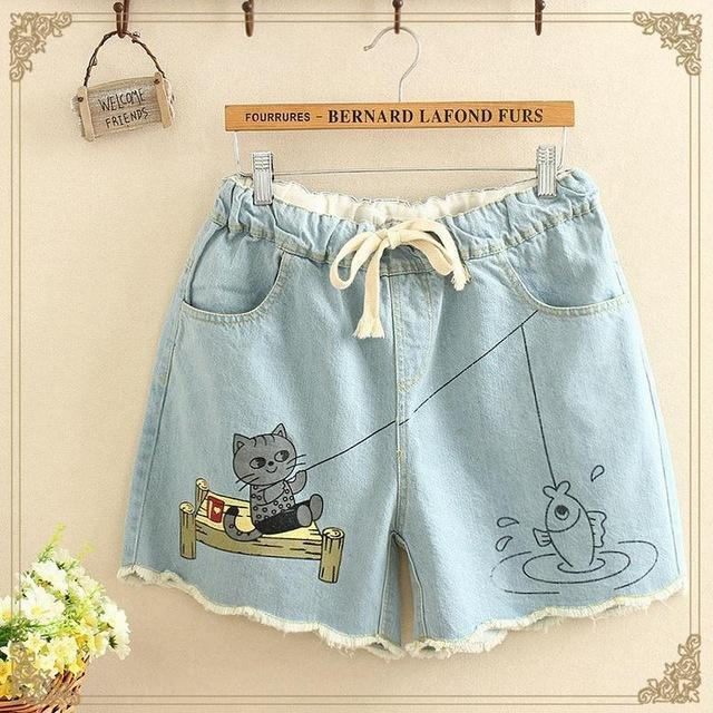 Cute Japanese Kitty Fishing Elastic Wide Denim Waist Shorts - Neko Suki,