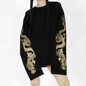 "[25% OFF] Japanese Streetwear Yakuza Style Luxury ""Golden Dragon"" Embroidery Ultra Long Sleeve T-Shirt - Neko Suki,"