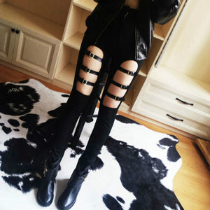 [35% OFF] Sexy Gothic Style Hollow Skinny Woman Trousers - Neko Suki,