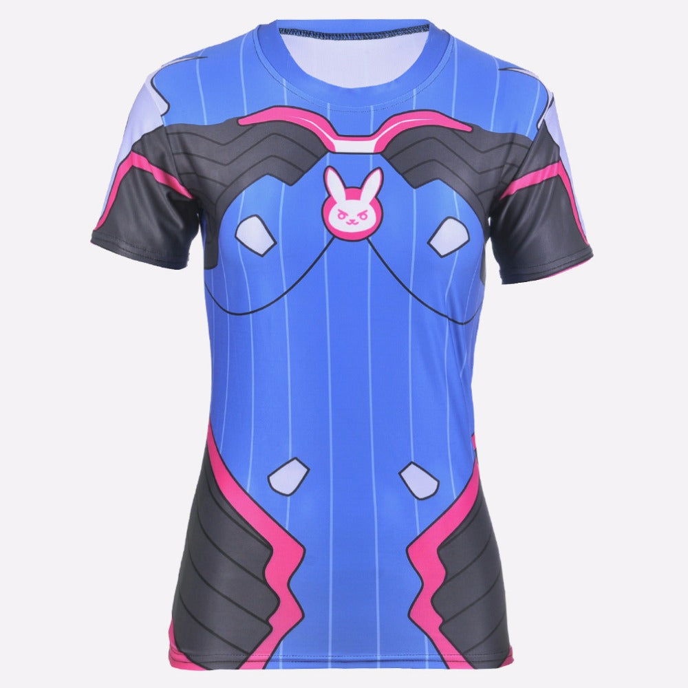 D.VA Overwatch 3D Printed Cosplay Costume Stretchable Slim Fit Top - Neko Suki,