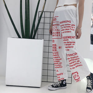 [35% OFF] Japanese Streetwear [English, Russian, Japanese, German, French Letter Printed Warning Label] Wide Cotton Harem Pants Trousers - Neko Suki,