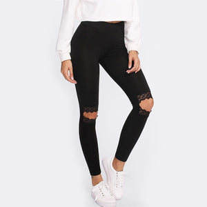 [25% OFF] Ultra Comfort Cotton Stretch Gothic Embroidery Hollow Knee Leggings - Neko Suki,