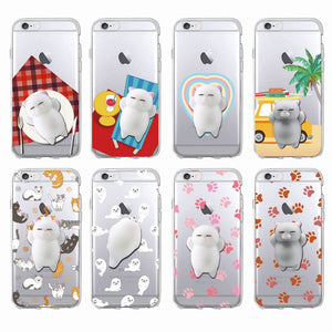 [BUY 1 GET 1 FREE] Cute Transparent Squishy Kitty 3D Silicon Phone Case for iPhone - Neko Suki,