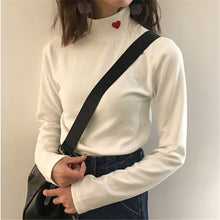 "[25% OFF] ""NANING9"" Korean 한글 Pure Cotton Heart Embroidery Turtleneck for Extra Warmth & Comfort - Neko Suki,"