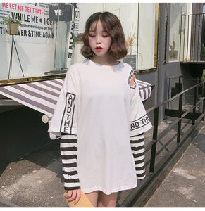 "[25% OFF] ""ADER Error"" Korean 한글 Trendy ""Boxed Text"" T-Shirt With Stripe Sleeve - Neko Suki,"