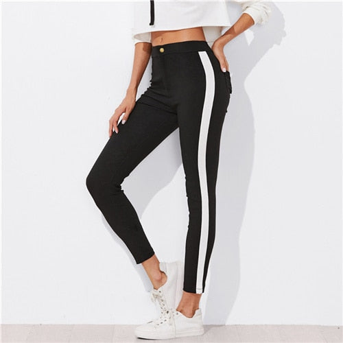 [25% OFF] Ultra Comfort Cotton Stretch White Stripe Black Leggings - Neko Suki,