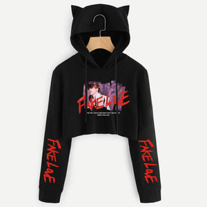 [50% OFF] Kpop BTS 'Love Yourself 轉 Tear' Crop Top Cat Hoodie - Neko Suki,