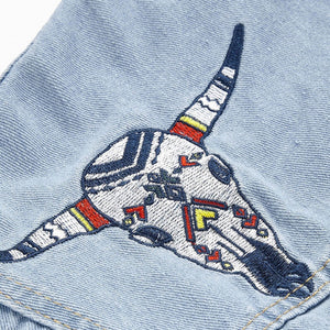 "[45% OFF] ""HYEIN SEO"" Premium Quality Native American Symbols Embroidery Denim Jacket - Neko Suki,"