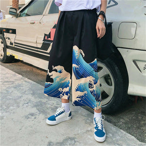 [35% OFF] Japanese Streetwear Graphic Printed Ocean Waves 海波 Harem Pants - Neko Suki,
