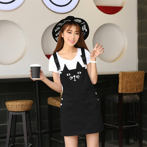 [35% OFF] Cute Japanese Streetwear Harajuku Black Cat Dungarees Skirt - Neko Suki,