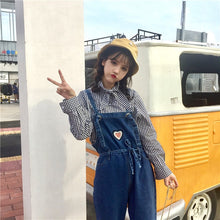 [35% OFF] ''Miamasvin 사랑해요 미아마스빈'' Cute 'Mini Heart' Denim Overalls Dungarees Jeans - Neko Suki,