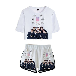 [50% OFF] Kpop BTS One Set Crop Top & Shorts - Neko Suki,