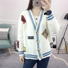 [40% OFF] FW18 Trendy Japanese Picturesque Embroidery Graphic Stitched Up Cardigan - Neko Suki,