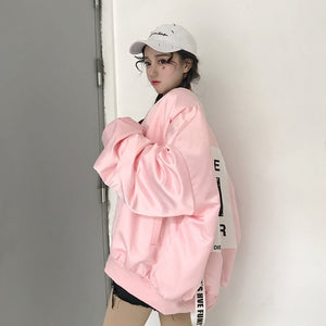 "[35% OFF] ""HYEIN SEO"" Exlusive Korean 한글 Streetwear Graphic Printed Oversized Nylon Jacket - Neko Suki,"
