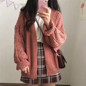 "[38% OFF] ""NANING9"" Cute Korean 한글 Hand Knitted Wool Cardigan - Neko Suki,"