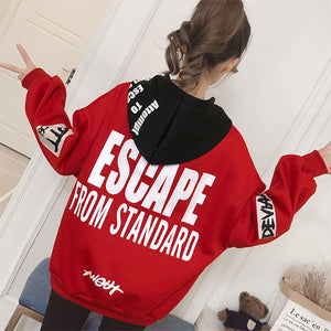 "[45% OFF] Japanese Streetwear ""ESCAPE FROM STANDARD"" Oversized Thick Cotton Hoodie - Neko Suki,"